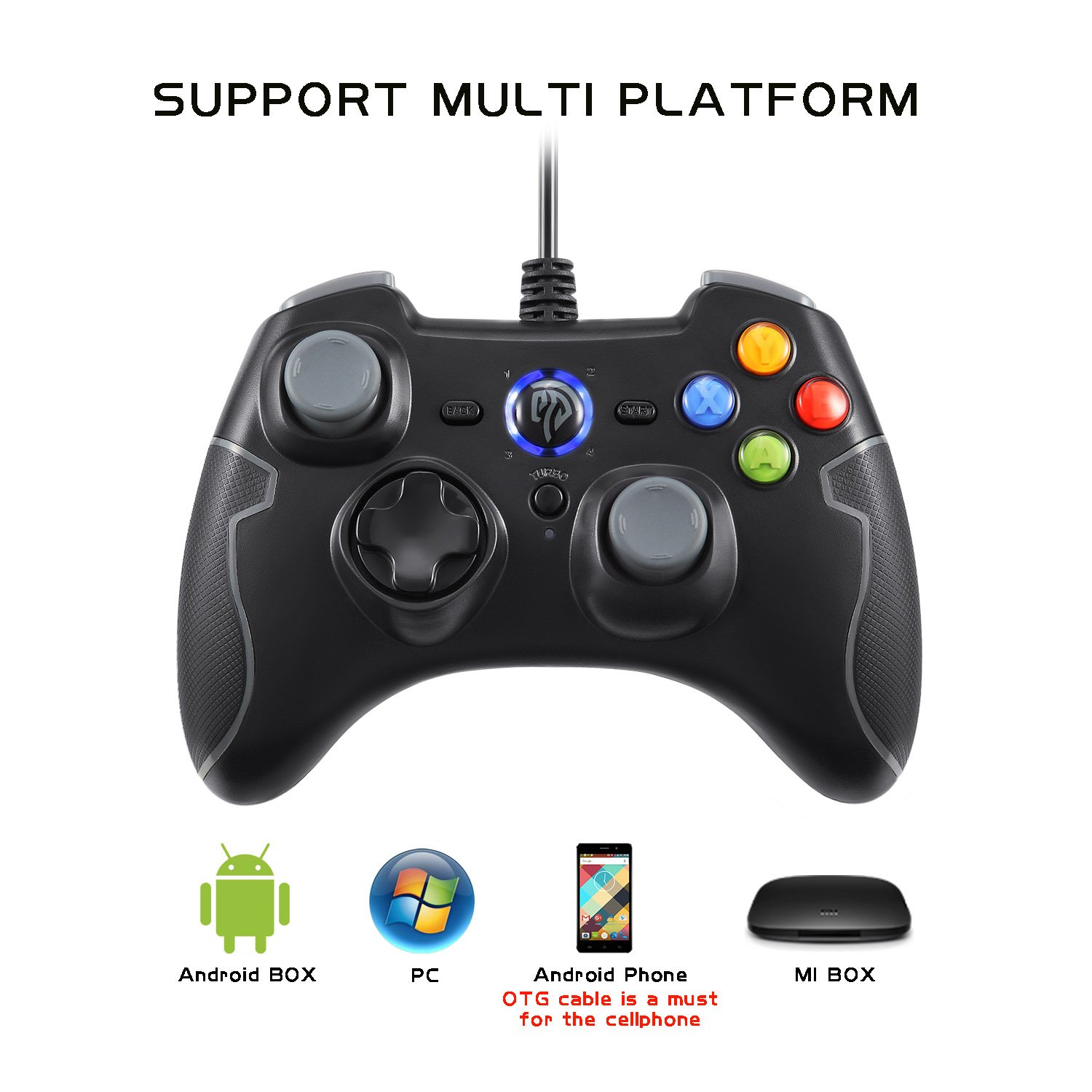 Wired Gaming Controller, EasySMX PC Game Controller Joystick with Dual-Vibration Turbo and Trigger Buttons for Windows/Android/ PS3/ TV Box (Gray) by EasySMX (Image #3)