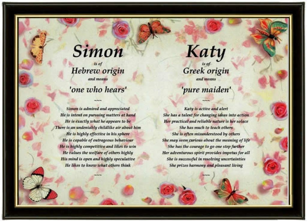 Unique Twins & Couples Personalised Framed First Name Meaning Gift idea for  Birthdays, Christmas, Engagements & Valentine's Day displaying 2 names