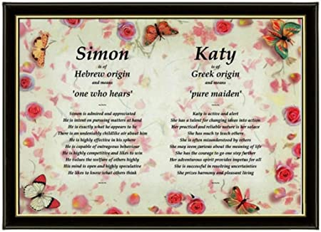 Unique Twins & Couples Personalised Framed First Name Meaning Gift ...