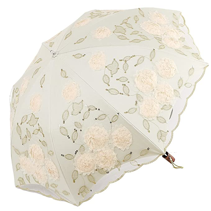 Vintage Style Parasols and Umbrellas kilofly Anti-UV Lace Embroidery Sun Protection Folding Parasol Rain Umbrella $32.50 AT vintagedancer.com