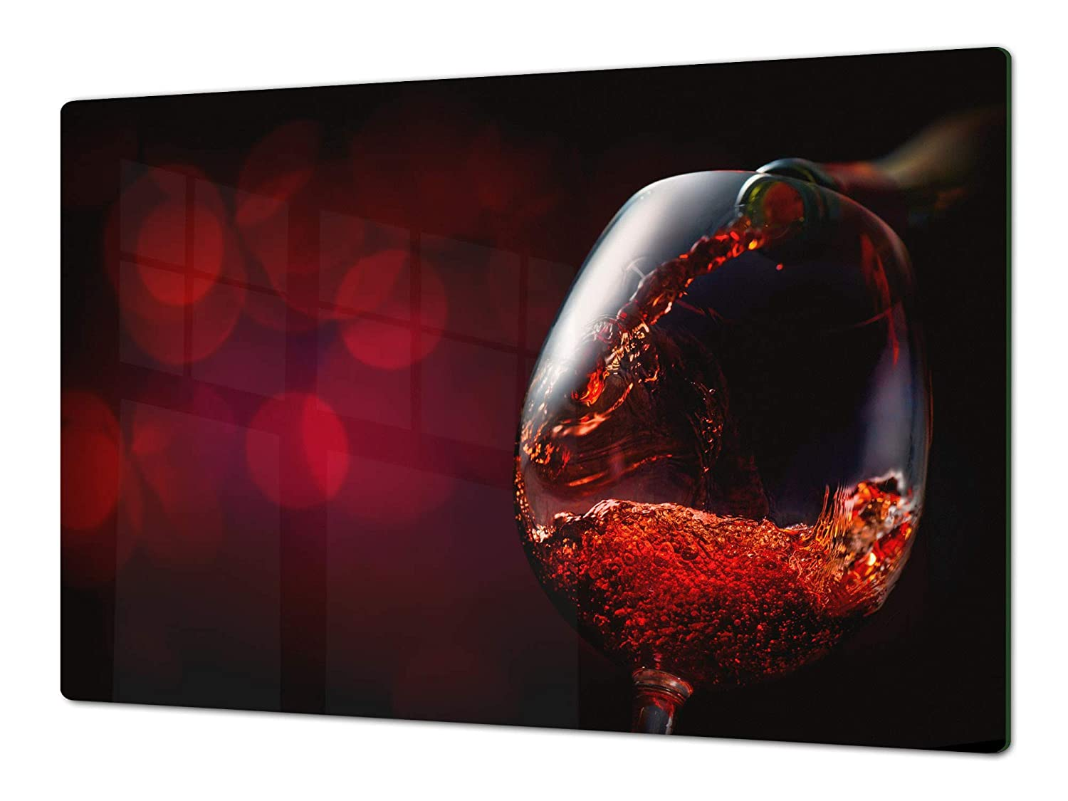 Red wine 7 80x52 Big Kitchen Board & Induction Cooktop Cover – Glass Pastry Board – Heat and Bacteria Resistant;Single  80 x 52 cm (31,5  x 20,47 ); Double  40 x 52 cm (15,75  x 20,47 ); Wine Series DD04