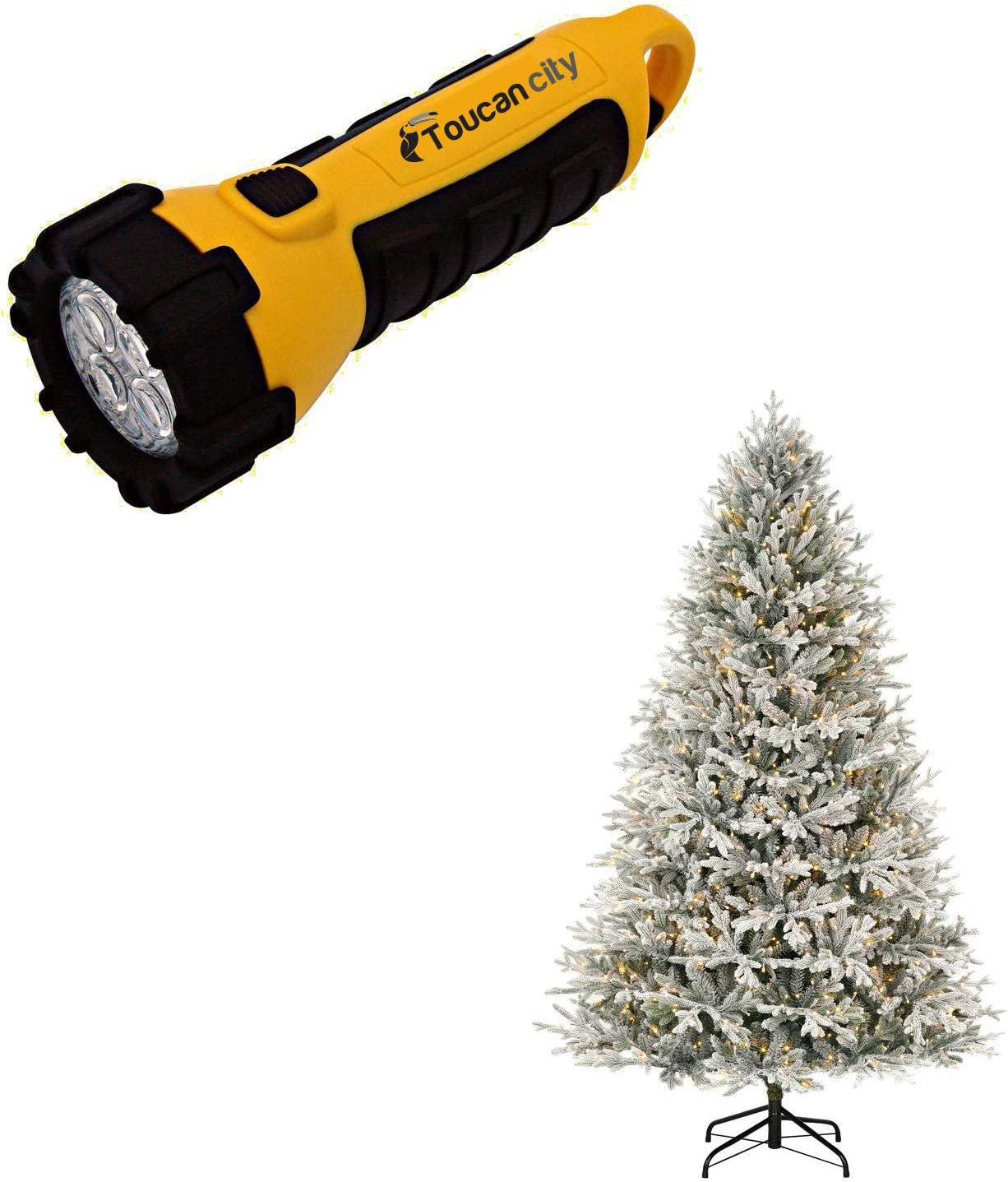 Toucan City LED Flashlight and Home Decorators Collection 7.5 ft Kenwood Frasier Fir Flocked LED Pre-Lit Artificial Christmas Tree with 1000 Warm White Lights H8800101