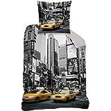 Juego de ropa de cama reversible New York, 135x 200cm 80x 80cm, 100% algodón, linón, CTI