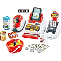ZHENGTU Supermarket Cash Register Play Set with Supermarket Toys with Scanner & Swipe Machine