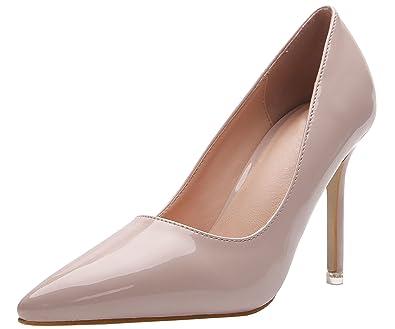 0afc39f42847c Amazon.com   BIGTREE Stiletto Women Work Shoes Faux Patent Leather ...