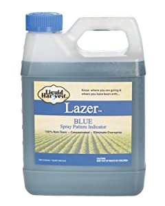 Liquid Harvest Lazer Blue Concentrated Spray Pattern Indicator - 1 Quart (32 Ounces) - Perfect Weed Spray Dye, Herbicide Dye, Fertilizer Marking Dye, Turf Mark and Blue Herbicide Marker (Quart, 00117)