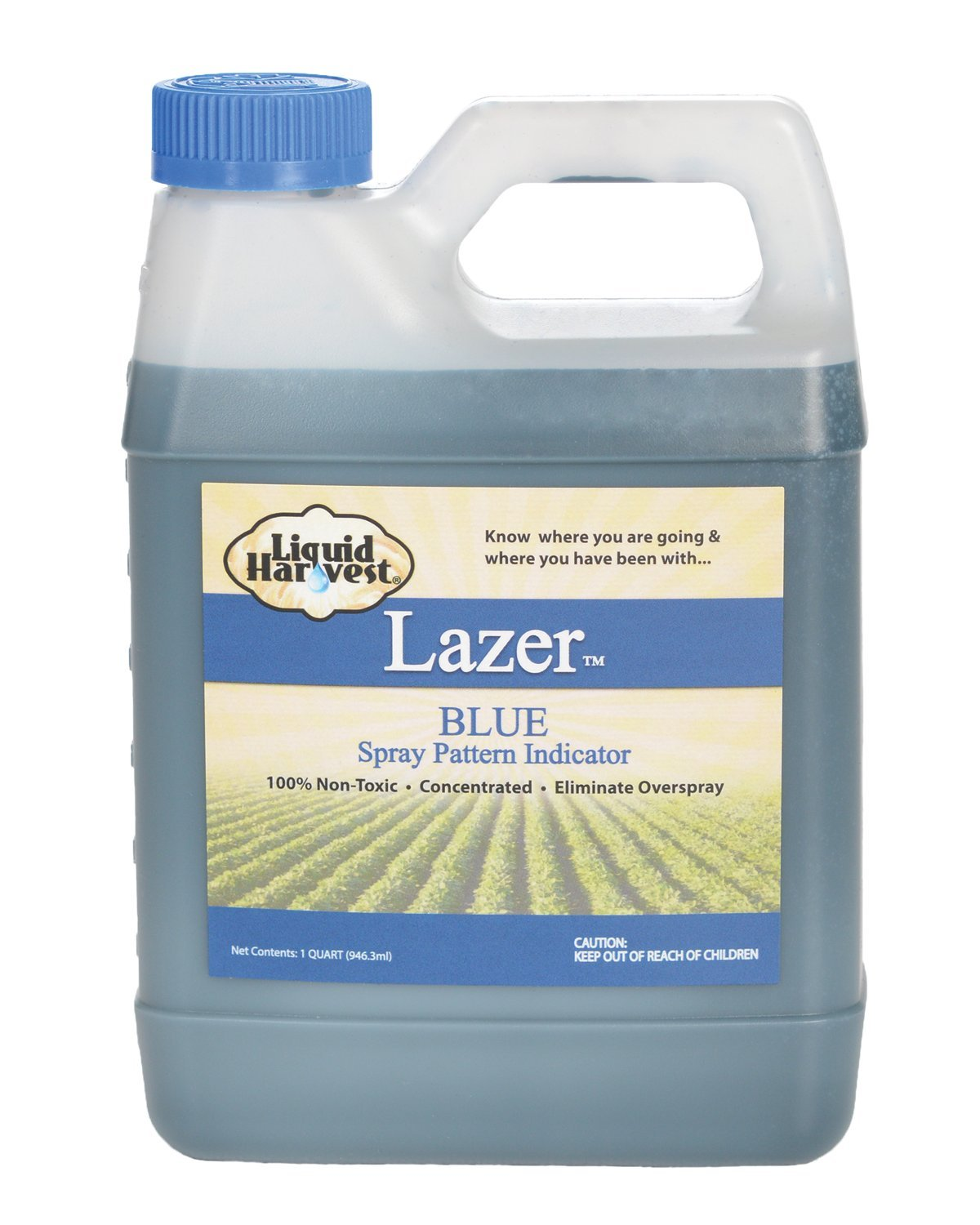 Liquid Harvest Lazer Blue Concentrated Spray Pattern Indicator - 1 Quart (32 Ounces) - Perfect Weed Spray Dye, Herbicide Dye, Fertilizer Marking Dye, Turf Mark and Blue Herbicide Marker