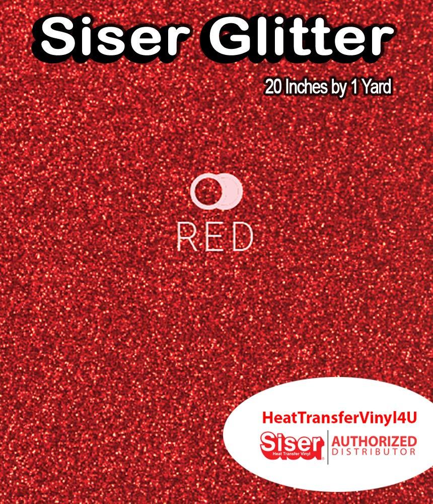 Siser グリッター 鉄 ビニール 20インチ x 36インチ (1ヤード) 20 Inches by 36 Inches (1 Yard) レッド Siser Glitter 20