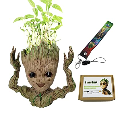 Groot Baby Flower Pot Pen Pot Cute Hands Up Planter Pot Guardians Of The Galaxy Action Figures Birthday Toy With Groot Baby Lanyard