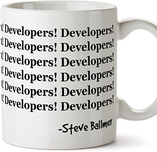 Tazas de desayuno original para regalar a programadores - Developers! Developers! Steve Ballmer - Cerámica 350 ml: Amazon.es: Hogar