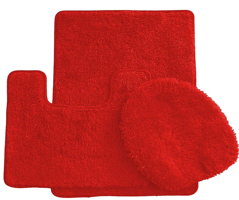 45,7 x 76,2 cm Ben/&Jonah Simple Elegance by Ben/&Jonah Badematte 3-teiliges Set 1 Toilettensitzbezug Rot