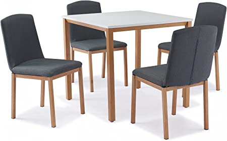 Mobilier Deco Table Carree 4 Chaises Scandinave Muky Amazon Fr