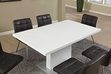 Lovely Monarch Specialties High Glossy White Dining Table, 35 X 60 Inch
