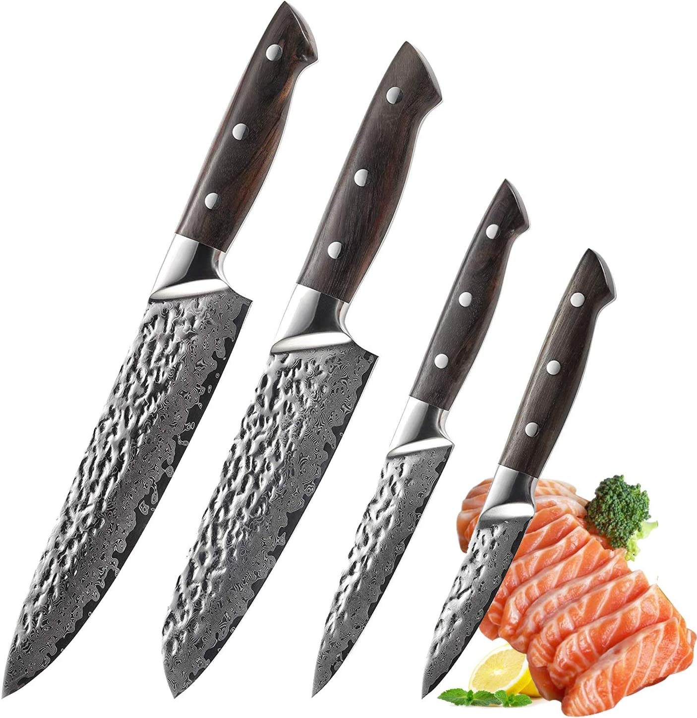 Japanese Knife Set Damascus Kitchen Knife Set 4pcs, Chef Santoku Utility  Paring Cutlery Knives, VG10 Stainless Steel Rosewood Handle (4pcs)