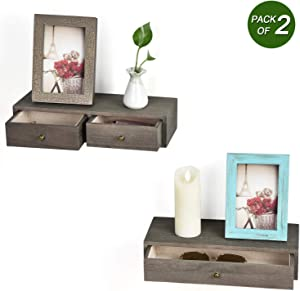 Emfogo Wall Shelves with Drawer Rustic Wood Floating Shelves for Storage and Display Multiuse as A Nightstand or Bedside Shelf Set of 2 Weathered Grey