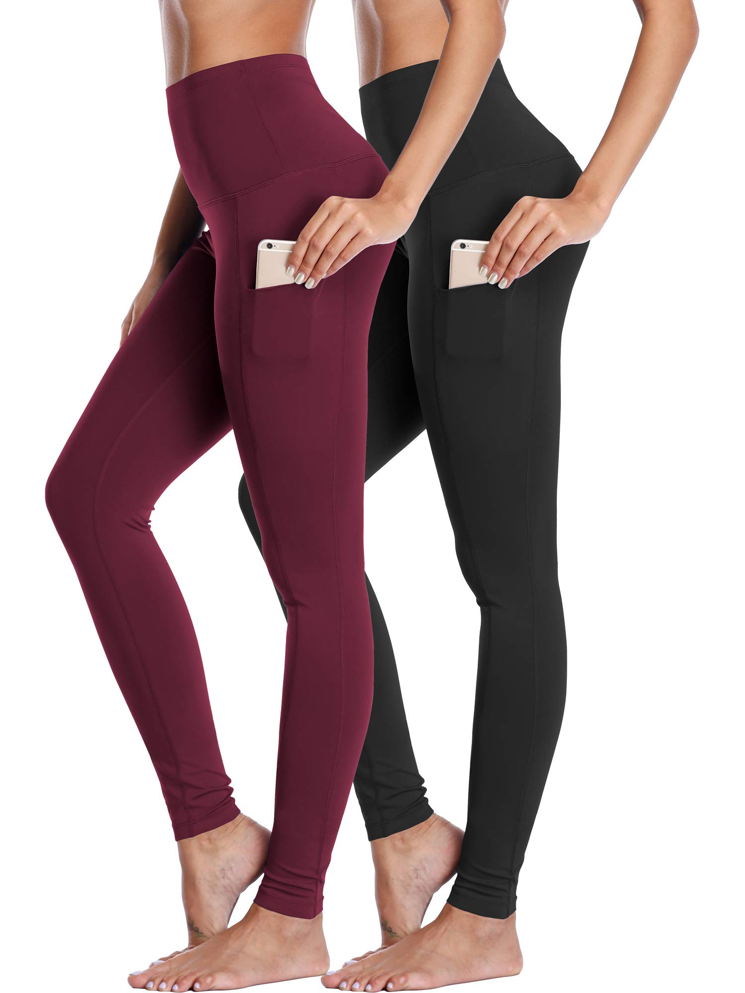 Neleus Women's 2 Pack Yoga Leggings Tummy Control Workout Yoga Pant,103,Black,Dark Red,M by Neleus