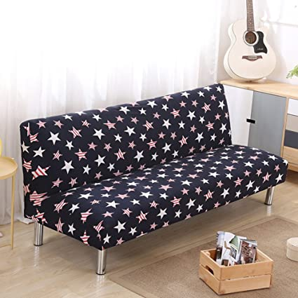 Lovehouse Surefit Armless Sofa Bed Covers,Sofa Cover Stretch Polyester Printed Stain Resistant Sofa slipcover Protector for 2,3,4 seat Couch Living ...