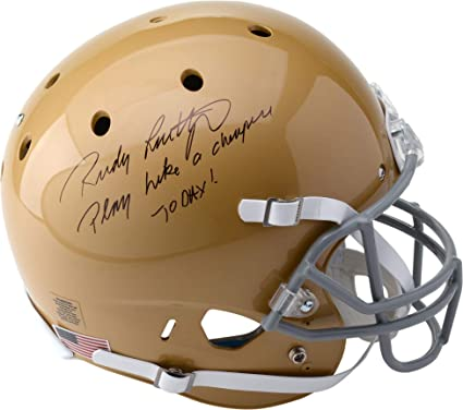 "0796f4d244b Rudy Ruettiger Notre Dame Fighting Irish Autographed Schutt Replica Helmet  with""Play Like A Champ"