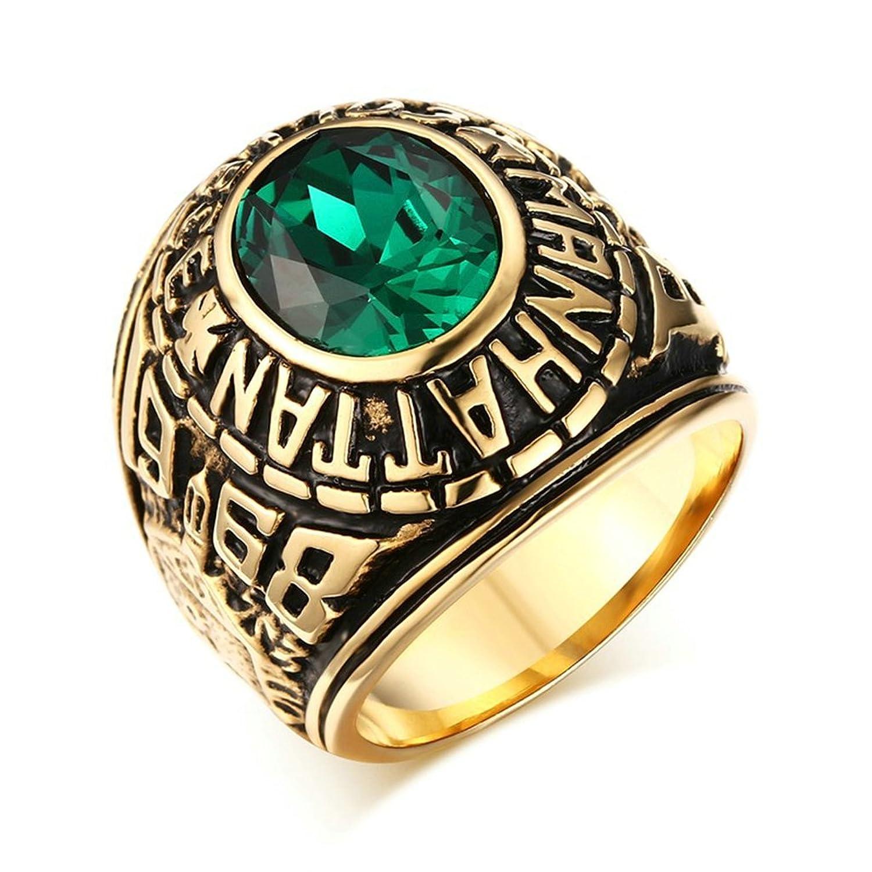 Bishilin Acero Inoxidable Chapado en Oro Vintage Hombres Anillos con Verde Emerald(Laboratorio Creado)