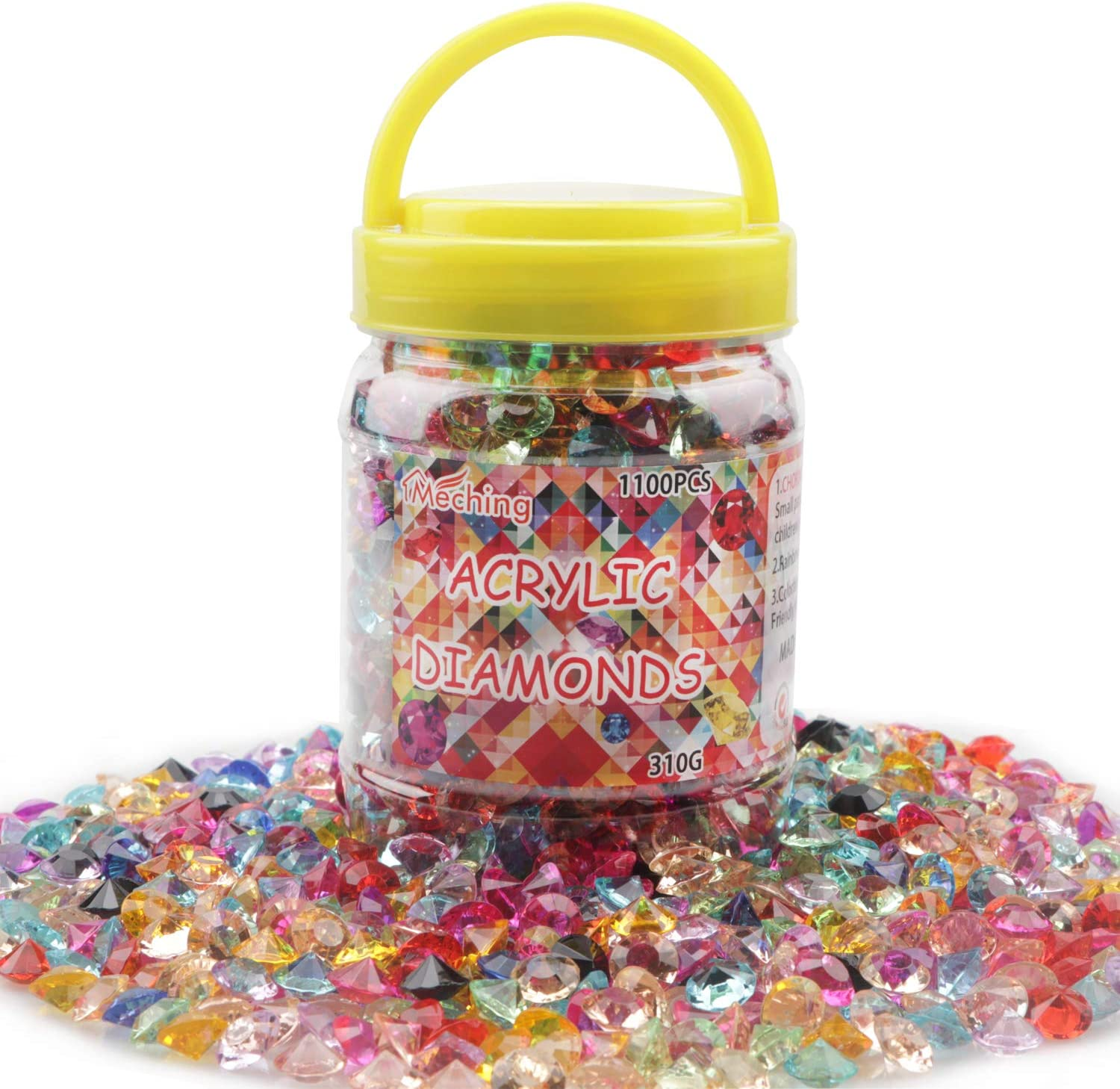 1100 Pieces Clear Wedding Table Scatter Confetti Crystals Acrylic Diamonds Rhinestones for Table Centerpiece Decorations Wedding Decorations Vase Beads Bridal Shower Decorations(Multi, 10 MM)