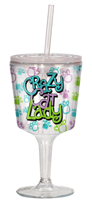 Multi Colored 16820 Spoontiques Crazy Cat Lady Goblet