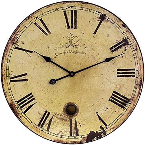 Imax 2511 Large Wall Clock with Pendulum Vintage Style Round Wall Clock, Wall Decor for Kitchen, Office, Retro Timepiece. Home Decor Accessories