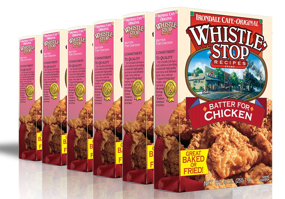 Original WhistleStop Cafe Recipes | Batter Mix for Chicken, Baked or Fried | 9-oz | Case of 6