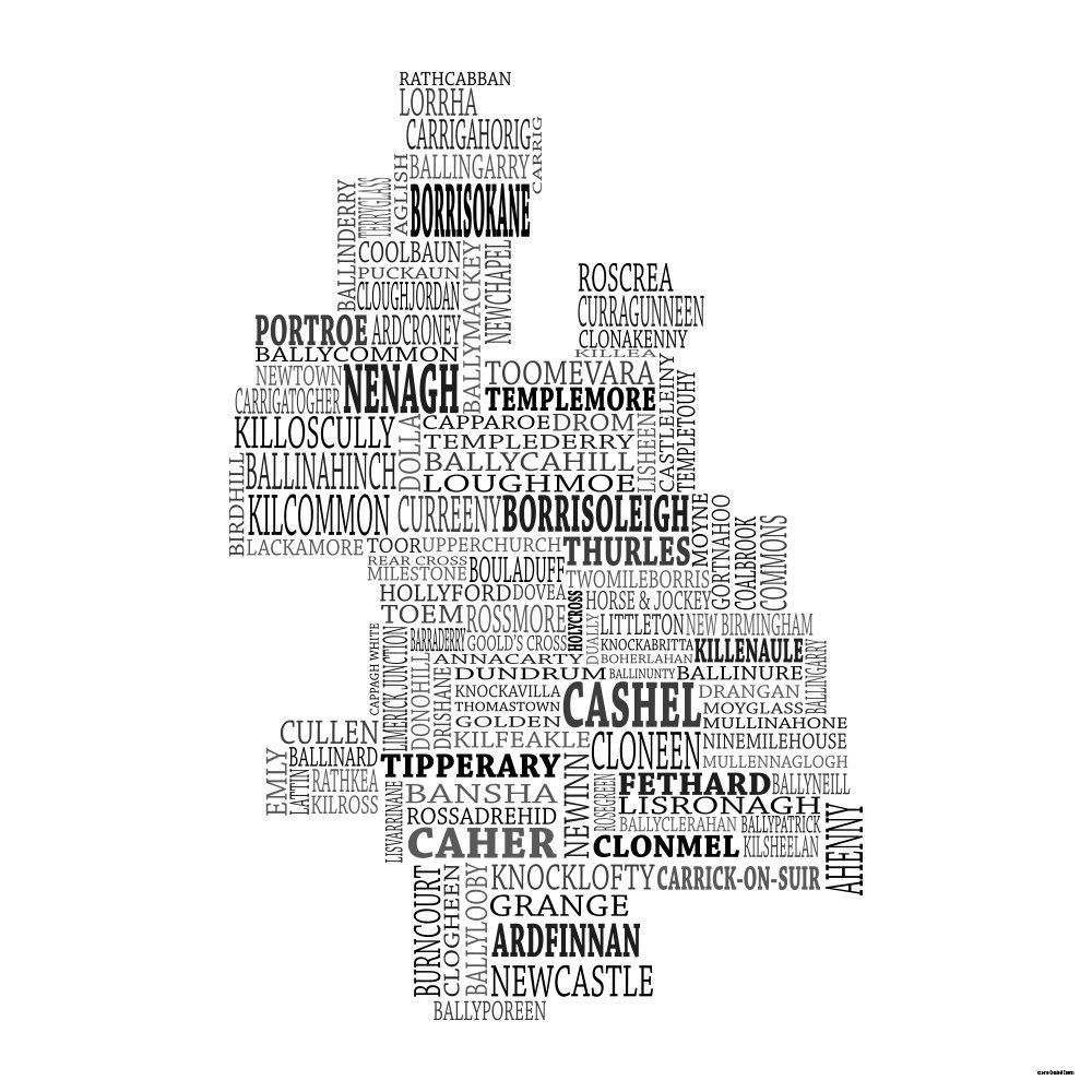 County Tipperary Ireland Map.Amazon Com Typographic Map Of County Tipperary Ireland 18 X18
