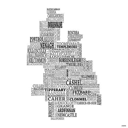 County Tipperary Ireland Map.Amazon Com Typographic Map Of County Tipperary Ireland 12 X12