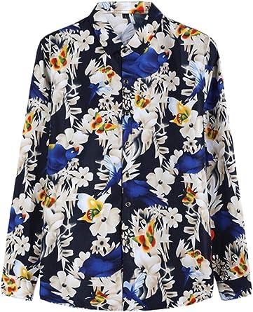 Yacun Hombres Camisas De Manga Larga Casual Flor Floral Camisa Hawaiana: Amazon.es: Ropa y accesorios