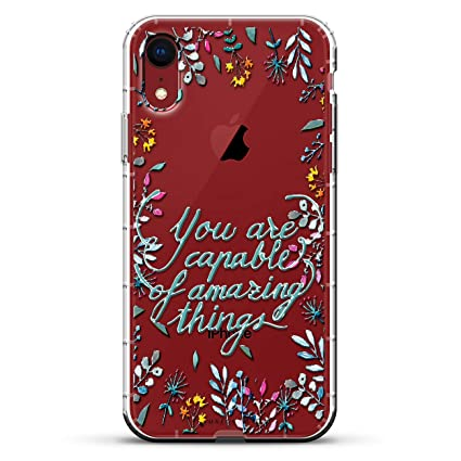 INSPIRATIONAL QUOTE | Luxendary Air Series Clear Silicone Case with 3D printed design and Air-Pocket Cushion Bumper for iPhone XR (new 2018/2019 model ...