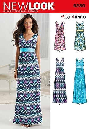 New Look 6280 Größe A Schnittmuster Knit Kleid in 2 Längen mit ...