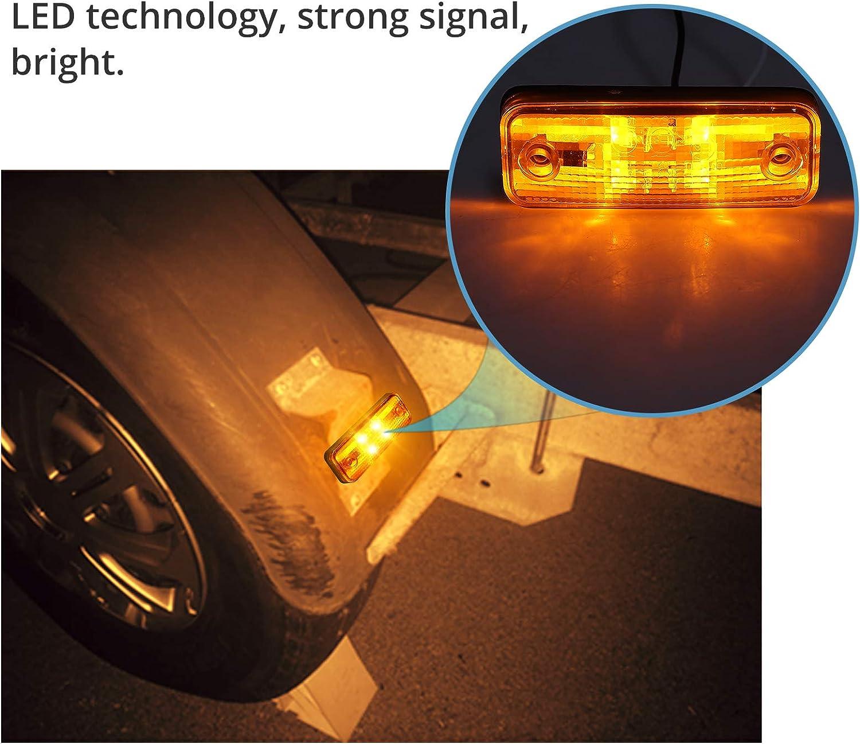 Side Lights Justech 4PCs 4LEDs Side Marker Light LED Position Side Lamps Universal for 12//24V Trailer Van Caravan Truck Lorry Bus-Yellow