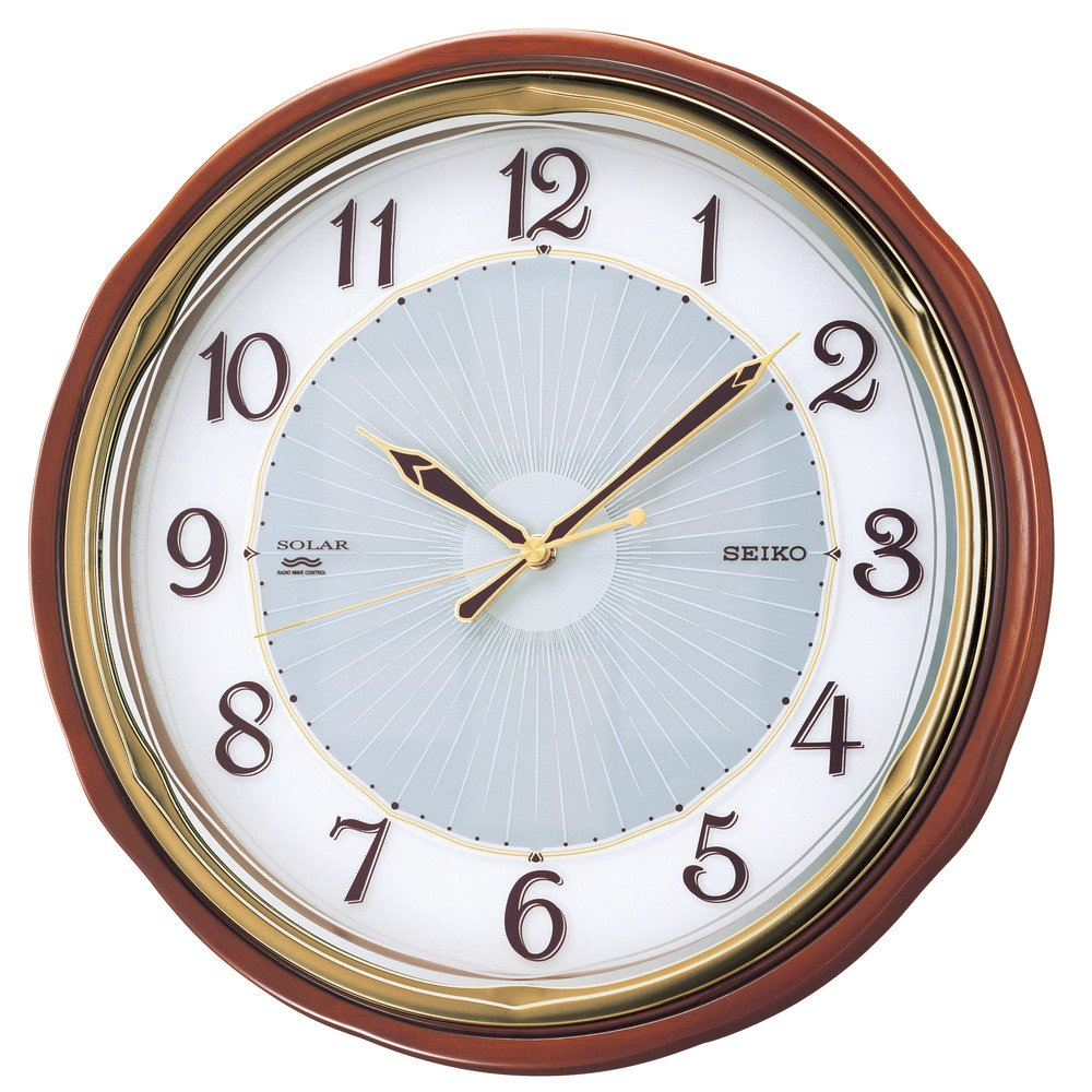 セイコー クロック 掛け時計 SOLAR+ ソーラープラス 電波 アナログ 木枠 茶 木地 SF221B SEIKO B000JDEOSW