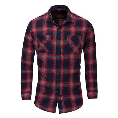 Winwinme Oficina de negocios de algodon de manga larga a cuadros para hombre camisas de vestir