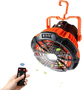 Camping Fan with LED Lantern,Portable Tent Fan with Hanging Hook,Rechargeable USB Personal Desk Fan with IR Remote for Home, Office, Tent, Outdoor(Orange)