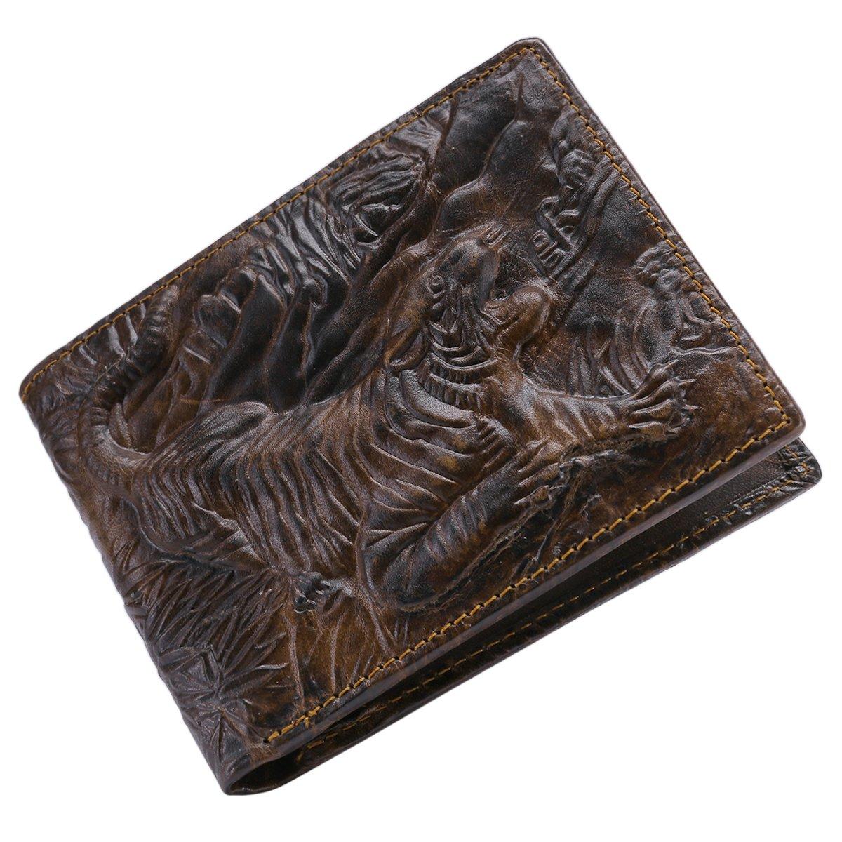 Itslife Men's Cowhide Leather Wallet Alligator Tiger Dragon Embossing (Tiger)