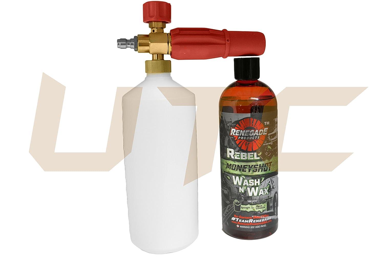 UTC Set of Renegade Foam Cannon & Rebel Moneyshot Wash N' Wax Liquid Soap Pro Auto Detail Foam Suds Maverick