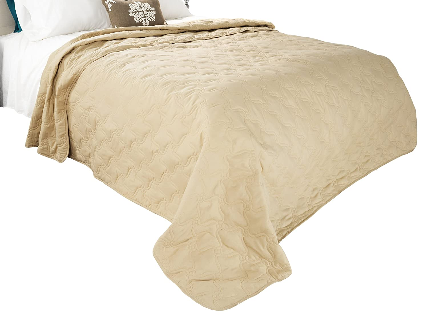 Solid Color Quilt by Bedford Home King Taupe Trademark Global 66A-06690