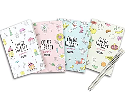 Amazon.com: Set of 4 Mini Coloring Books for Adult Relaxation Color ...