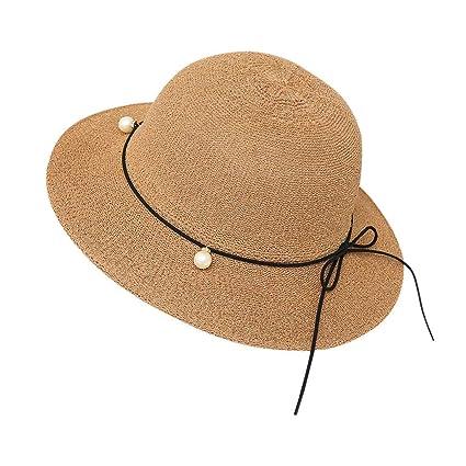77ad0a87 Amazon.com: Cap,Longay Summer Floppy Foldable Ladies Women Bow Solid Beach  Sun Hat Wide Brim (Khaki): Arts, Crafts & Sewing