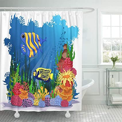 Shower Curtain 72x72 Inch Home Postcard Decor Blue Coral Angel Fish With Sea Life Colorful Reef