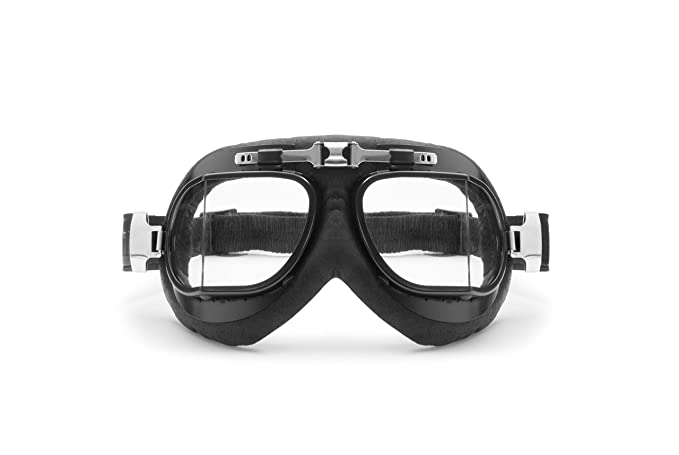 9f60afaef8 Amazon.com  Vintage Motorcycle Goggles Aviator Glasses - Real Calfskin  Black Leather by Bertoni Italy - AF193L RAF Pilot Goggles  Automotive