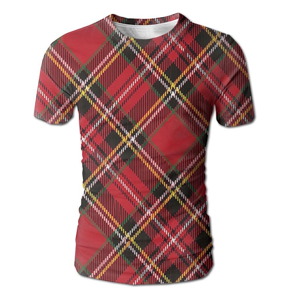 Edgar John Diagonal Traditional Vintage Scottish Tartan Pattern Striped Men's Short Sleeve Tshirt M