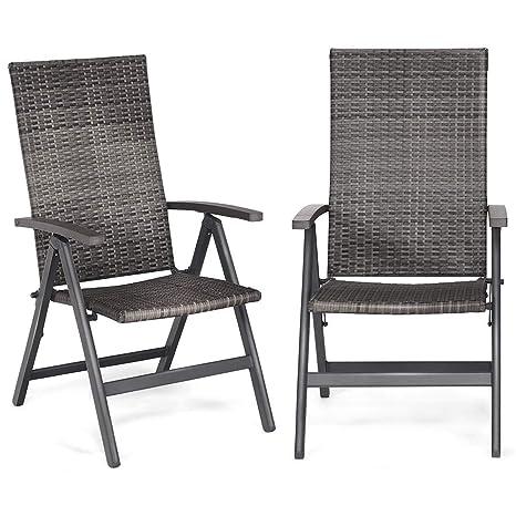 Amazon.com: 2 sillas plegables de mimbre de ratán para ...