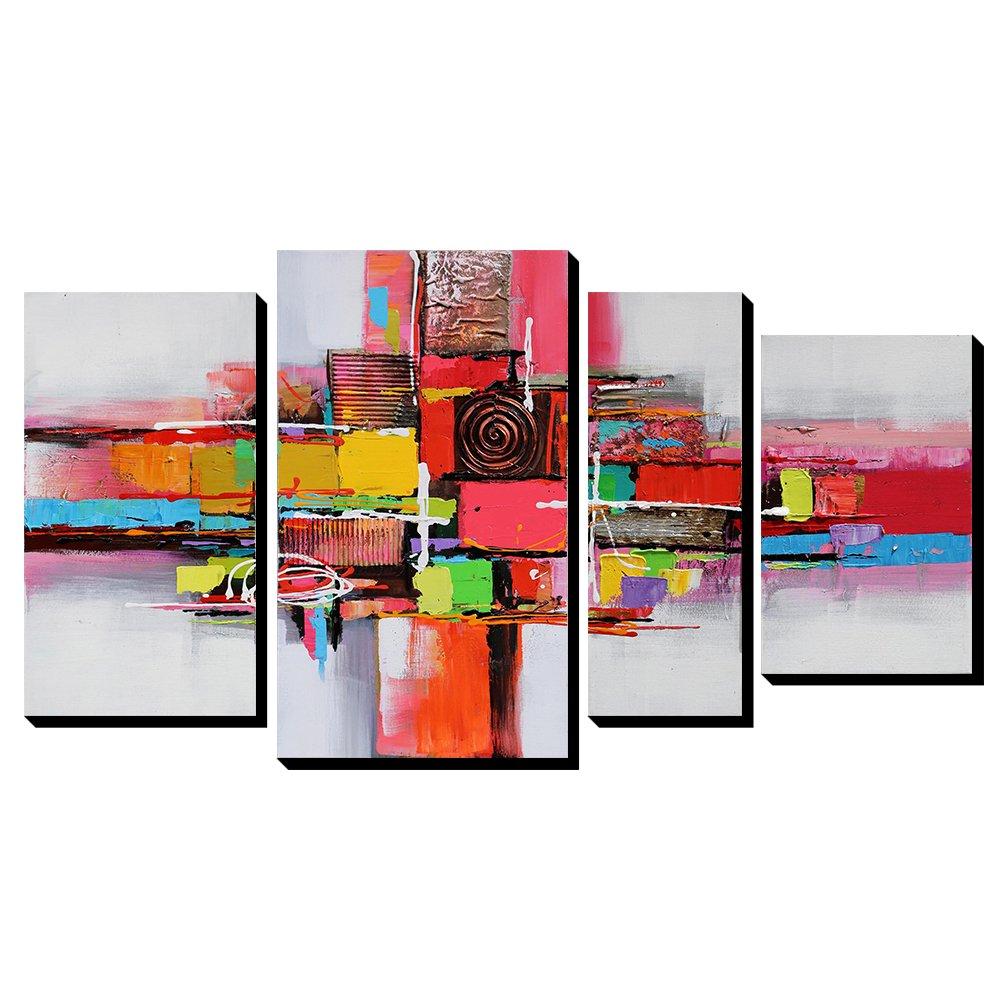 Asmork 100%手書きアートポスター 絵画 モダン アートパネル 油絵 抽象画 壁掛け インテリア 4パネルセット 20X40cm, 30X50cm, 15X40cm, 20X30CM-4PCS B01N2UJSKC