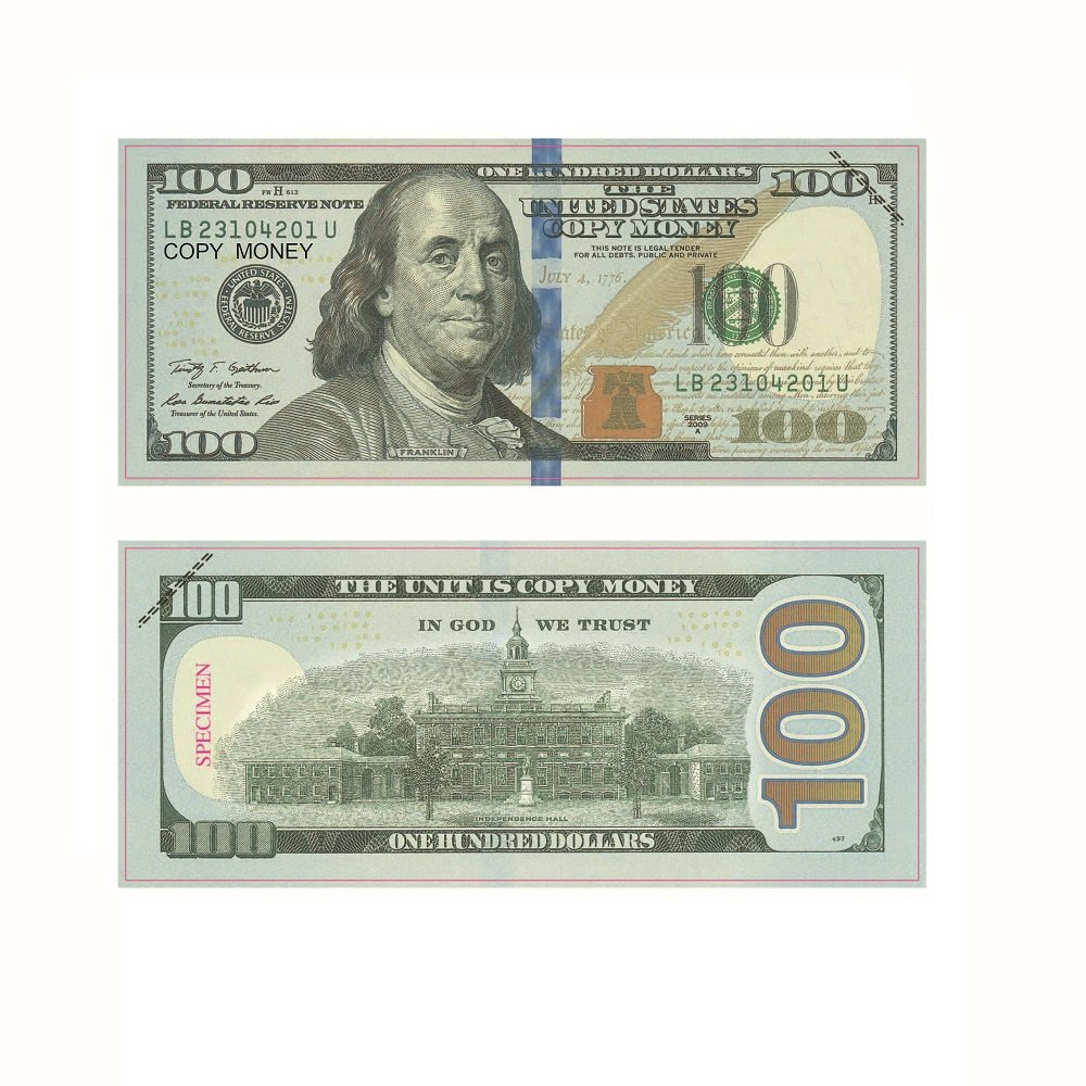 AL'IVER Prop Money Copy Money $10000 Fake Money Realistic Double Sided Money Stack 100 $100 Bills Full Print Motion Picture Money