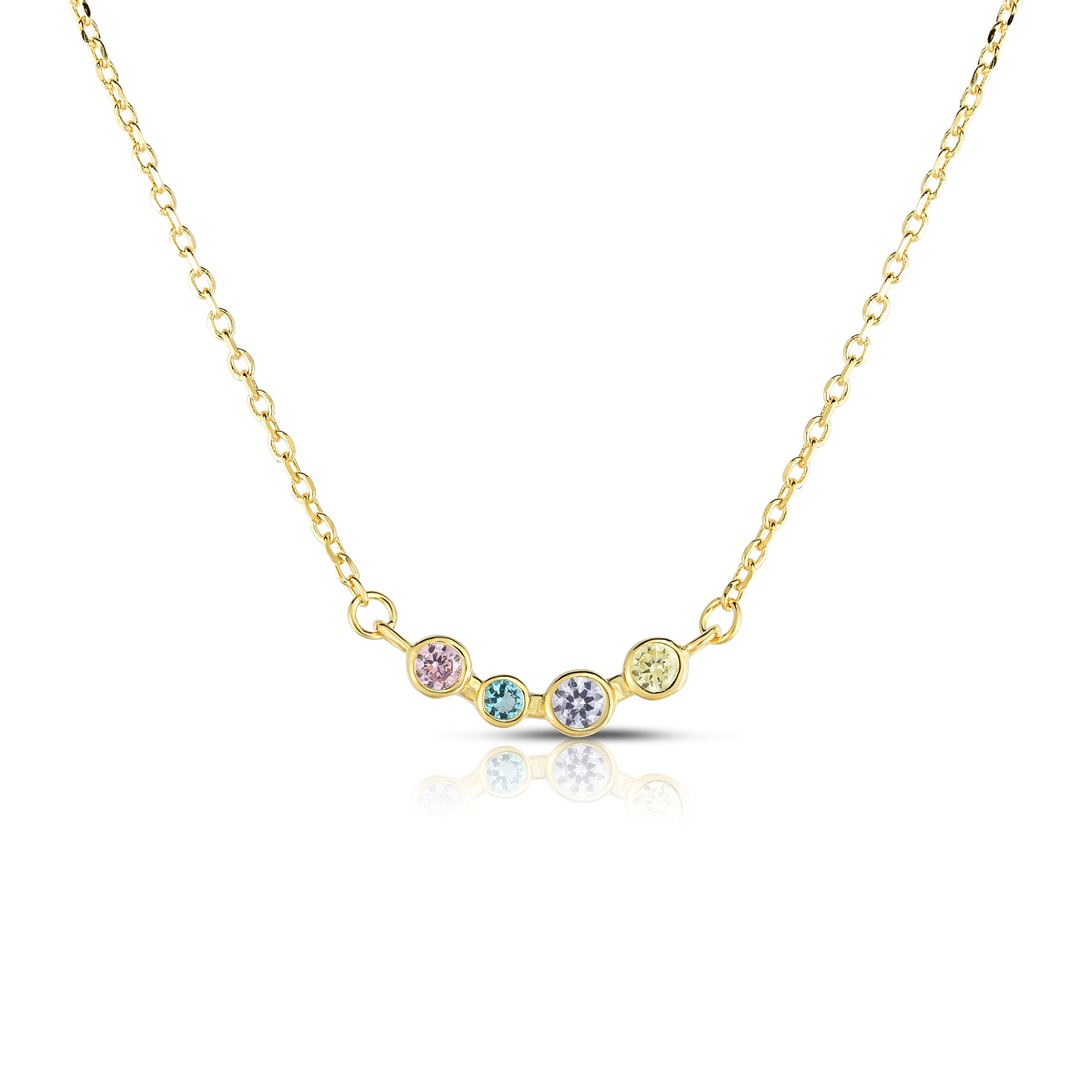 Spoil Cupid Yellow Gold-Plated Sterling Silver Rainbow Color Cubic Zirconia 5 Bezel-Set Chain Necklace, 16\