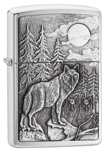 Lobo Lobos encendedor Zippo interior y exterior para mechero con mensaje personalizado personalizar grabado gratis permanente vida grabado en la parte ...