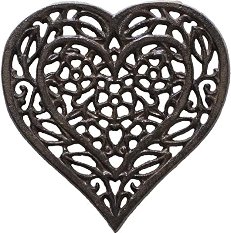 Vintage heavy wrought iron trivet hearts design